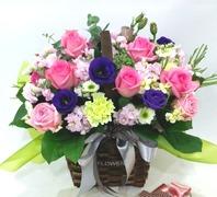 핑크혼합꽃바구니
