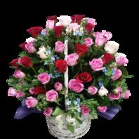혼합 장미100송이 러블리 꽃바구니